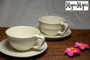 アジアン雑貨ジェンガラ社製食器コーヒーカップペアセット白色(カップ:2&ソーサー:2)