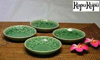 アジアン雑貨ジェンガラ社製食器小皿セット(4個入り)丸緑色
