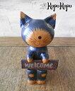 バリネコ 木彫りwelcome ビックフェイス【木彫り 動物 バリ猫 ...