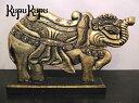 アニマル木彫り 象のスタンドオブジェ(金/W60cm)【ゾウ 象 ぞう...