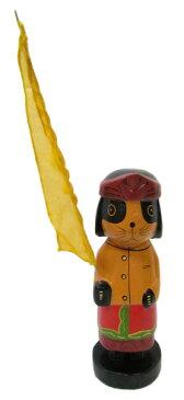ウンブルウンブルを持ったバリニーズワンコ 赤【バリ・アジアン雑貨バリパラダイス】