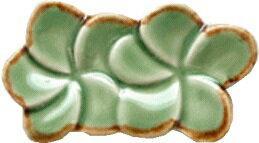 ジェンガラJENGGALAFRANGIPANI箸置きダブル(Green w/Brown Rim )【バリ・アジアン雑貨バリパラダイス】