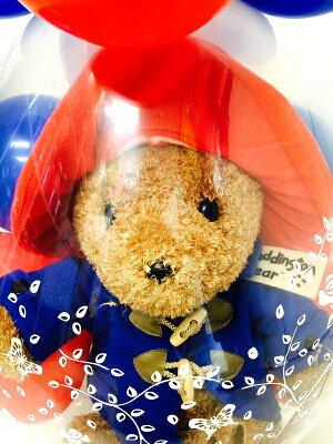 バルーン電報(電報)♪パディントンベアバルーンラッピング♪♪結婚式誕生日バルーンギフトぬいぐるみ1歳出産祝い発表会入園祝い入学祝