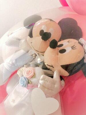 バルーン電報(電報)結婚式ディズニー♪ミッキー&ミニーのウェディング♪おしゃれなぬいぐるみ入籍祝いにも