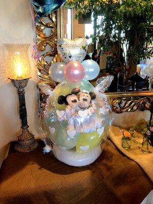 ディズニー♪ミッキー&ミニーバルーンラッピング♪パステルバージョンバルーン電報(電報)結婚式おしゃれなぬいぐるみウェルカムドールにも♪