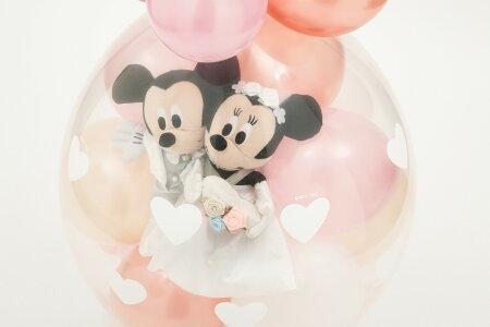 【10%OFFクーポン対象】ローズゴールドバージョン★バルーン電報(電報)結婚式ディズニー♪ミッキー&ミニーのウェディング♪おしゃれなぬいぐるみ電報祝電ウェルカムドール入籍祝いにも