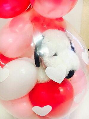 ふわふわスヌーピーバルーンラッピング♪バルーン電報(電報)結婚式誕生日母の日ぬいぐるみ1歳出産祝い発表会