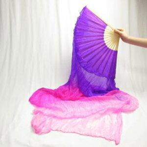 ファンベール1本,紫色×ピンク,ベリーダンス,扇子,よさこい 扇子,団扇,衣装,舞台,小道具,シルク,グラデーション
