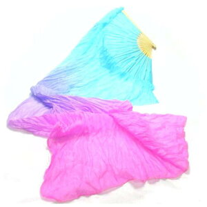 ファンベール1本,ブルー×ピンク,ベリーダンス,扇子,よさこい 扇子,団扇,衣装,舞台,小道具,シルク,グラデーション