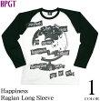 Happiness(ハピネス)ラグランロングスリーブ-BPGT-hw004rglt-G-ロンT長袖パンクロックオリジナルメッセージTシャツバンドカットソーメンズレディースユニセックスファッション大きいサイズ白×黒【RCP】