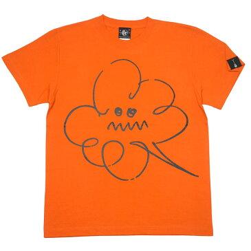 モクモク Tシャツ (ネイビー&オレンジ)BPGT sp061-Z完- 半袖 雲空 くもり空 キャラクター イラスト 落書き かわいい 可愛い おしゃれ アメカジ カジュアル メンズ レディース ペアルック ユニセックス 大きいサイズ Tシャツ屋さんバンビ【RCP】