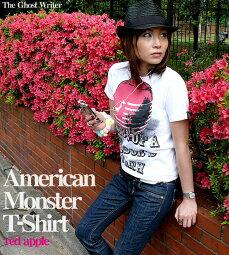 AmericanMonster(redapple)Tシャツ-TheGhostWriter-tgw033tee-rd-G-PUNKROCKパンクTロックT林檎リンゴメッセージ半袖Tシャツメンズレディースユニセックスホワイトかっこいい【RCP】