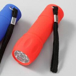 小型 懐中電灯9LEDラバーライトSC-1612(ボディ色/赤)台風・地震の備えに電池別売