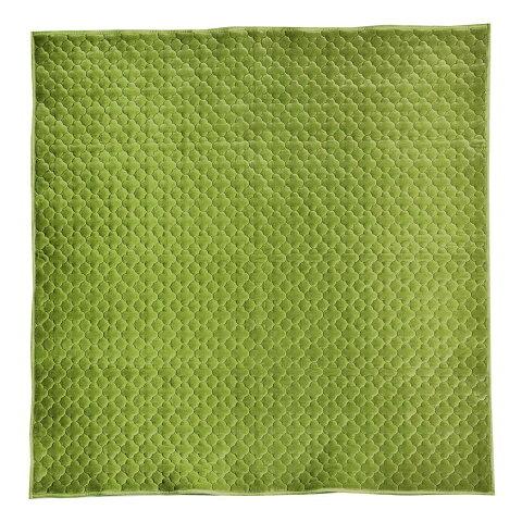 もちもち素材のモロッカンキルトラグ グレイッシュ グリーン 約185×185cm 240617316 メーカ直送品  代引き不可/同梱不可