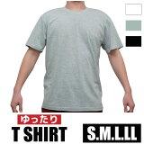 インナー用丸首TシャツゆったりサイズS.M.L.LL無地白/黒/グレー【中国製】1枚ならメール便選択可