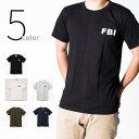 5color FBI Tシャツ エフビーアイ 半袖 クルーネック メンズ レディース 無地 Tシャツ Army ロゴ カレッジロゴ ミリタリー アメカジ トップス カットソー ティーシャツ ロゴT 黒 ブラック 白 ホワイト 緑 グリーン 紺 Tシャツ tat-0003