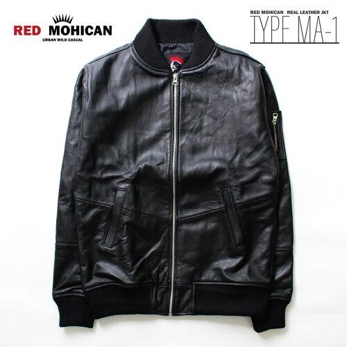 レザージャケット 本革 MA-1 Red-Mohican メンズ/ブルゾン/ミリタリージャケット/フ...
