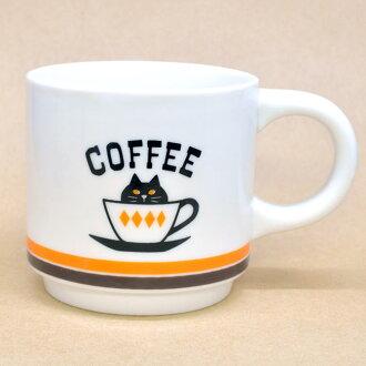 橙色線黑貓咖啡咖啡杯子咖啡杯子杯貓貓設計 nekogoods 貓杯