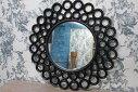 鏡ミラーウォールミラー丸型MRR007アジアンブラック黒インテリア・寝具・収納鏡壁掛け丸型展示品展示中古品中古家具中古家具アウトレット新品