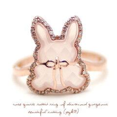 【うさぎ・アニマルジュエリー】ダイヤモンドの取り巻きがゴージャスな美しいカットのローズク...