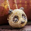 パンダ ネックレス ダイヤモンド K18 アニマルジュエリー ペンダント ジュエリー アクセサ...