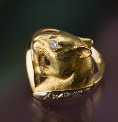 【送料無料】エレガントで美しい豹のパンテールピンキーリング(Pt900/K18)【リングサイズ6号】