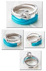 【送料無料】鮮やかなターコイズブルーが美しいトルコ石とダイヤモンドがきらめくハートリング(WGK18)【リングサイズ12号】