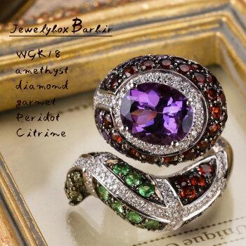 【送料無料】アメジストガーネットダイヤモンドリング指輪ハンドメイドジュエリーアクセサリーレディースジュエリー品質保証プレゼント贈り物ファッションセレクトジュエリー
