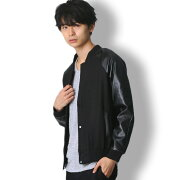 BUZZWEARMA-1PUレザー切替スタジャンメンズ秋冬春用黒/グレーM-XL