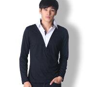 BUZZWEAR襟付きレイヤード長袖ポロシャツメンズ秋冬春用黒/ベージュM-XL