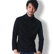 BUZZWEARアフガンネック長袖tシャツメンズ秋冬春用黒/白/赤/グレーM-XL