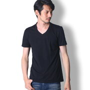 BUZZWEARVネック半袖tシャツメンズ秋春夏用黒/グレーM-XL