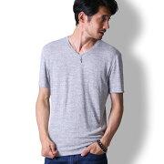 tシャツメンズ半袖定番ゆる霜降りカットソーおしゃれVネックトップスキレイめ秋服BUZZWEAR[バズウェア]
