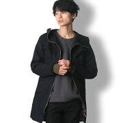 BUZZWEARロング丈モッズコートメンズ秋冬春用黒/緑M-XL
