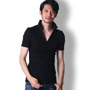 BUZZWEAR半袖スキッパーポロシャツメンズ秋春夏用黒/白/紺M-XL