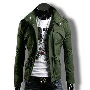 ライダースジャケットメンズミリタリーブルゾンアウタージップアップコーデバイクウェア黒緑春夏秋メンズファッション