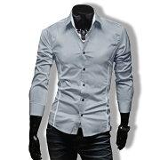 ワイシャツメンズカジュアルシャツ長袖無地ストライプトップスビジネスコーデ黒白グレー春夏秋メンズファッション