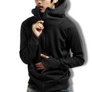 ライダースパーカーメンズジップアップトレーナー指穴無地ジャケットカジュアル黒赤グレー春夏秋メンズファッション