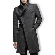 コートメンズアウターハーフコートハイネック無地斜めボタンアシンメトリークールきれい目細身スリムシックカジュアル防寒メンズファッションジャケット紳士服アウター