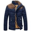 中綿入りジャケット メンズ コート ジャンパー ブルゾン アウター カジュアル アウトドア ナイロン ハイネック 異素材切り替え