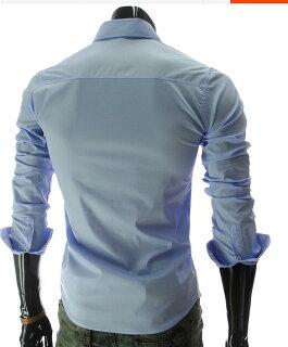 カジュアルシャツメンズ長袖無地ボタンダウンシンプルロールアップチェック柄裏地細身きれいめカジュアル爽やかトップス