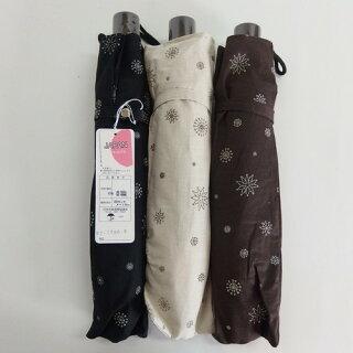 晴雨兼用傘レディース国産日本製日傘雨傘折たたみ傘綿麻生地雪結晶柄グリッタープリント傘女性用コーデ日焼け対策