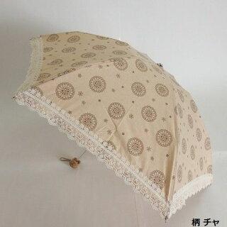 晴雨兼用傘レディース国産日本製日傘雨傘折たたみミニ傘カラードコットンプリント生地裾綿レース傘女性用コーデ日焼け対策