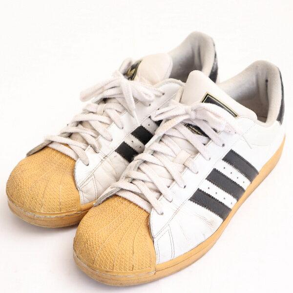 アディダスadidas26.5cmスニーカーメンズ紐靴3ライン定番シューズ靴ホワイトブランド古着 中古