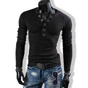 Tシャツメンズヘンリーネックカットソー長袖無地ロングスリーブロンTトップスキレイめコーデ黒グレー春夏秋メンズファッション
