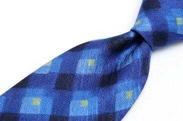 ケンゾーオム KENZO HOMME チェック柄 ブルー 青 シルク 日本製 ブランド ネクタイ 送料無料 【中古】【美品】