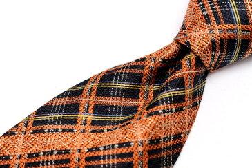 ケンゾーオム KENZO HOMME チェック柄 オレンジ シルク 日本製 ブランド ネクタイ 送料無料 【中古】