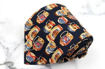 バーバリーズ Burberrys 食器柄 ロゴ シルク イタリア製 総柄 ネイビー シルク ブランド ネクタイ 送料無料 【中古】【美品】