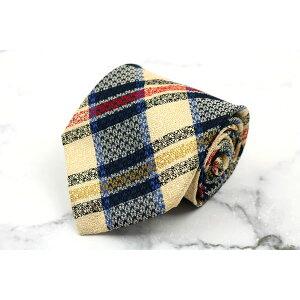 MCM MCM意大利制造的真丝格子米色真丝品牌领带免费送货[二手] [美容]