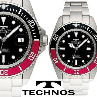 腕時計メンズ正規品TECHNOSテクノスフルステンレスカレンダー付きTSM402SHメンズ腕時計
